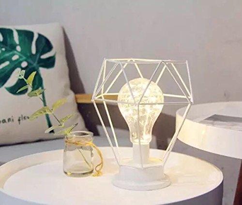 Lámpara de Mesa de Metal,SUAVER Lampara Escritorio forma de diamante,Luz creativa de la noche,Lámpara de Cabecera de Noche,Bombilla LED Iluminación decorativa para dormitorio,Bateria cargada (Blanco)