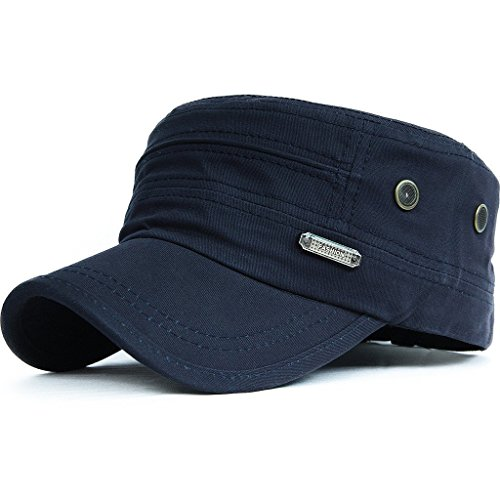 Kuyou Unisex Army Military Flat Cap Vintage Cotton Baseballmütze Kappe, 001Blau, Einheitsgröße