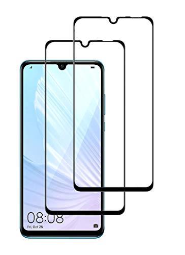 WEOFUN Protector pantalla de cristal templado para Huawei P30 Lite [2 Unidades], dureza 9H, ultra transparente, sin burbujas, cobertura completa[negro]