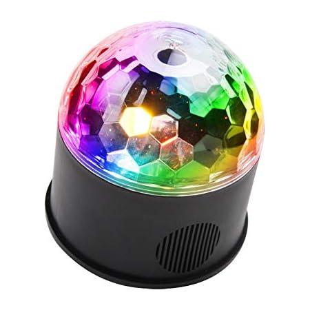 iHOVEN ステージライト ディスコライト 舞台照明 ミラーボール RGB多色変化 スピーカー内蔵 回転ライト 水晶魔球 投影ライト ミラーボール パーティー DJ カラオケ クラブ バー disco 雰囲気作り