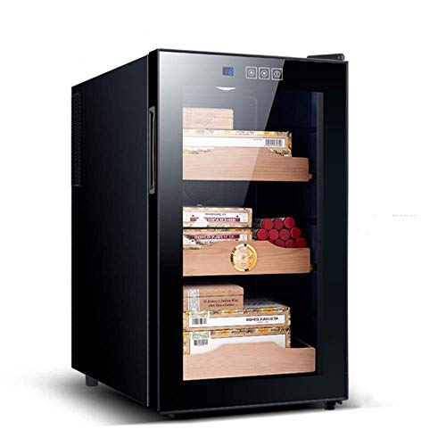 BXU-BG ヒュミドールキャビネットシガーキャビネット恒温モイスシーダーウッドシェルフ電子冷蔵庫ブラックタッチスクリーン(カラー:ブラック、サイズ:35.5x51.1x64.8cm)