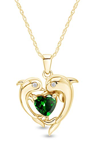AFFY Heart Simulated Emerald & White Cubic Zirconia Heart Frame Double Dolphin Pendant Necklace in 14k Yellow Gold Over Sterling Silver