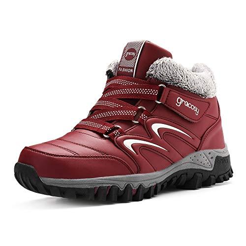 gracosy Chaussures de Sport Randonnée Hiver Femmes, Boots de Neige Fourrées en Cuir PU Bottes Baskets Fourrure Bottines Après Ski Soulier Confortable Chaud Imperméable Rouge 41