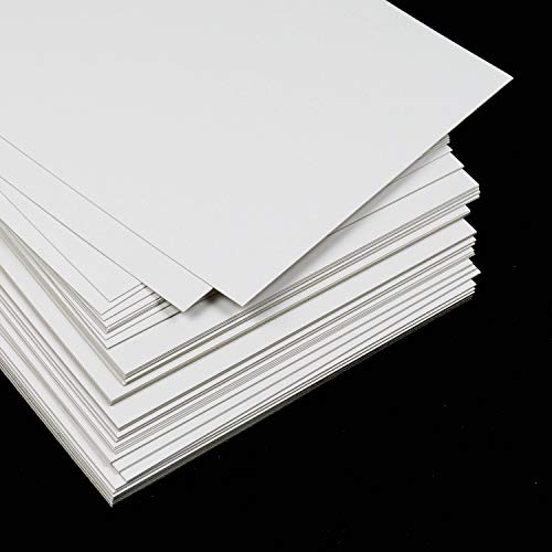 50 láminas Cartulina blanca DIN A3 300gr, Cartón gráfico cuché estucado brillante, Semi rígido, de máxima calidad, para tarjetas, manualidades, impresión, packaging, Certificado FSC®