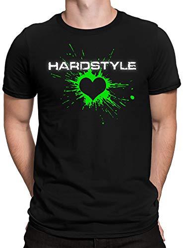 vanVerden Herren T-Shirt Hardstyle Heart Techno Elektro Music Hard Style Shirt, Farbe:Neon Grün, Größe:L