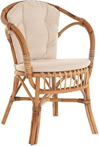 Klassischer Flecht-Sessel im skandinavischem Stil/Korb-Stuhl aus Natur-Rattan (Ungeschält Natur mit Kissen)