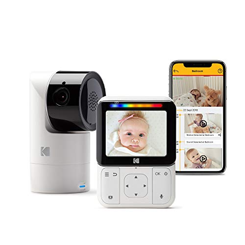 "KODAK Cherish C225 Video Baby Monitor - Tilt/Pan/Zoom Camera, 2.8"" HD Screen, Hi-res Camera, Remote Zoom, Two-Way Audio, Night-Vision, Long Range, WiFi, Mobile App"