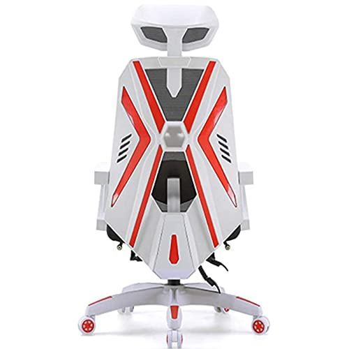 YUJIA Gaming Chair Racing Office - High Back Racing PC Computer Desk Office Chair Swivel Ergonomic Executive Chair with Adjustable Back Angle, Armrests And Footrest,White
