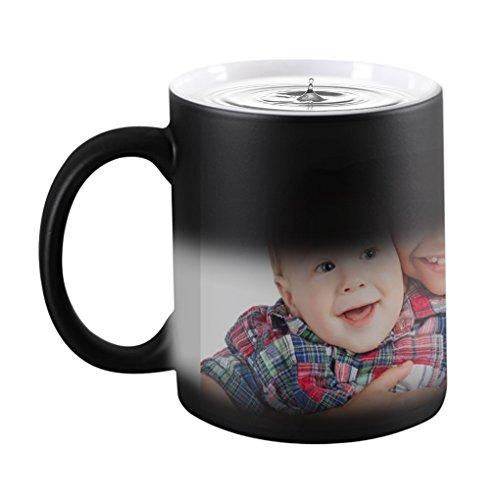 Custom Mug with Your Photo Text Image Personalized Mug Magic Color Changing Mug Dog Custom Coffee Tea Mug Travel Camping Dad Picture Photo Mug Memories Birthday Xmas Gifts for Her Him (Black(Round))