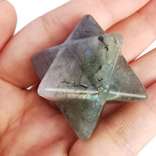 Lovionus89 Piedra de luna Merkaba natural, protección sagrada, meditación, generador de energía, curación, chakra, estrella de seis puntas, 2,5 c