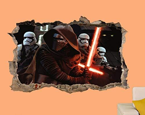 HQQPA Póster de pegatinas de pared 3D Guerra pegatinas de pared arte póster calcomanías mural dormitorio de los niños Smashed Wall Decal Gráfico