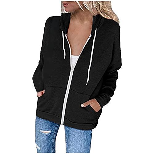 Sweaters for Women Cardigan Open Front,Women's Fleece Sweatshirts Casual Button Down Pocket Pullover Long Sleeve Drawstring Hoodies Black
