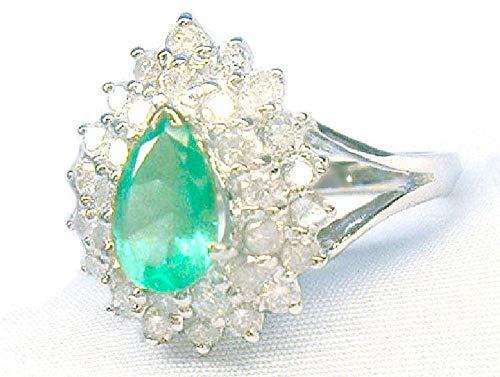 1.58Ct verde esmeralda colombiano y anillo de diamante en 18K oro blanco