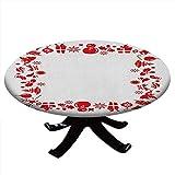Mantel redondo con bordes elásticos, diseño de Navidad con motivos navideños, diseño de renos, para mesas de hasta 62 pulgadas de diámetro, color rojo y blanco
