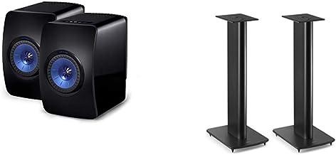 KEF LS50 Wireless Powered Music System (Black, Pair) & Performance Speaker Stand (Black, Pair)