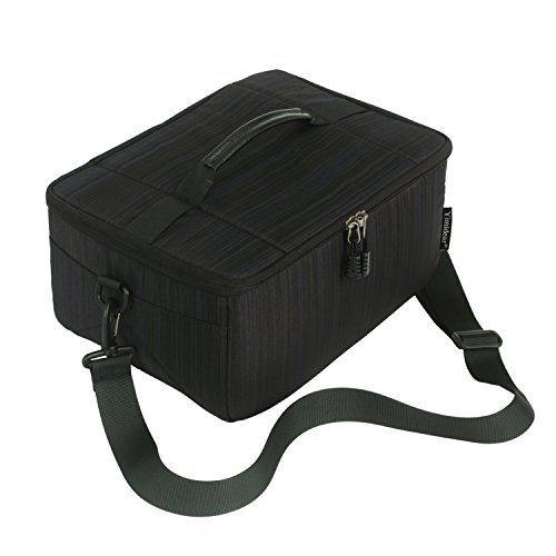 Impermeabile partizione antiurto borse fotocamera reflex imbottito custodia di protezione Inserire DSLR con maniglia superiore e tracolla regolabile per lente DSLR Shot o Flash Light (Black, L)