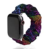 NiYoung Paisley Neon Turtles Watch Strap Compatible with Apple Elastic Watch Band 38mm/40mm,42mm/44mm Bracelet Compatible with Iwatch Series 6/5/4/3/2/1 for Women Girls
