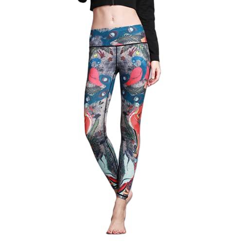 QTJY Pantalones de Yoga sin Costuras energéticos de Cintura Alta Estampados en Color Pantalones Deportivos para Correr para Mujeres Pantalones de Fitness con Levantamiento de Cadera y Flexiones GL