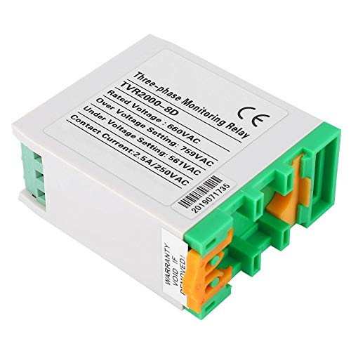 Relé de monitoreo de voltaje de protección de circuito trifásico, protector de secuencia de fase de bajo voltaje 660VAC TVR2000-8D para cajas de distribución de energía