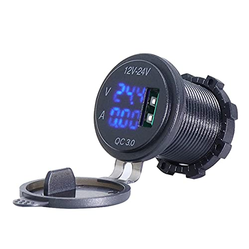 bysonice Adaptador de cargador de coche, QC 3.0 USB cargador de toma de corriente Cargador de corriente LED azul pantalla digital universal 5V 3A para coche barco motocicleta Accesorios de coche