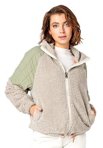 Stitch & Soul Damen Teddy Fleece-Jacke Colorblock Light-beige XL