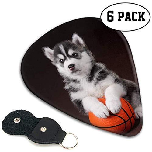 Cute Puppy Siberian Husky Volleyball Ball Plektren für Kinder Farbige Plektren 6er Pack