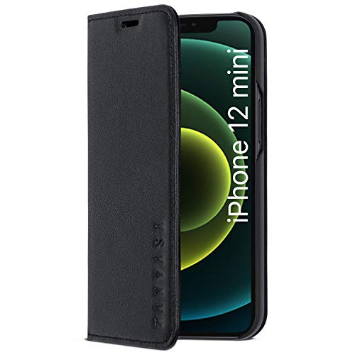 iPhone 12 Mini Leather Case Flip Cover Black - KANVASA Pro Premium Genuine Leather Wallet Book Folio Case for The iPhone 12 Mini (5.4 inch) - Ultra Thin with Magnetic Closure
