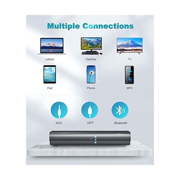 Soundbar, KMOUK Sound Bar for Small TV, Bluetooth 5.0, Mini Sound bar for PC/Home Theater, 2.0 Channel, 3 Equalizer Mode…