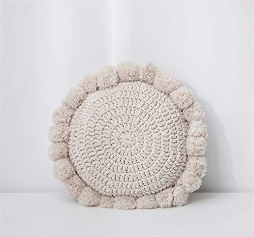 MIAOGOU Plush Sunflower Cute Sunflower Throw Pillow Tassel Pompoms Knitted Round Cushion Beige Home Decor Sofa Pillow Yoga Mat Hand Rests