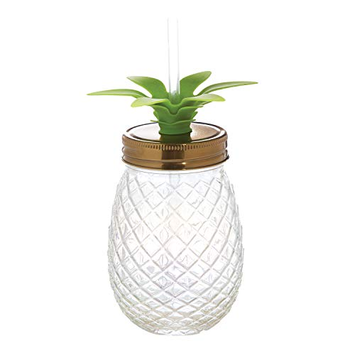 Slant Collections - Shaped Glass Jar with Lid and Straw, 15-Ounce,...