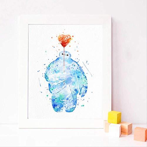 wangjingxi Aquarell Baymax Poster Leinwand Kunstdruck, Big Hero 6 Baymax Malerei Baby Kinderzimmer Kunstdruck Wand Dekor 30X40 cm