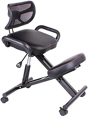 Taburete ortopédico con estructura de piel sintética, altura ajustable y altura de asiento con rodillas para promover una buena postura para la oficina y el hogar