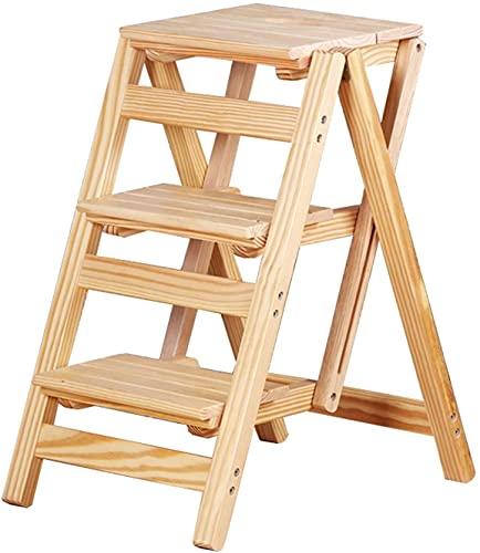 Taburete de la cocina Taburete 3 Pasos Tablas de madera Plafadoras plegables Sillas para la oficina Oficina o estudio, Taburete de escaleras portátiles para adultos y niños STIPLADDER DE CLIMB DE MADE
