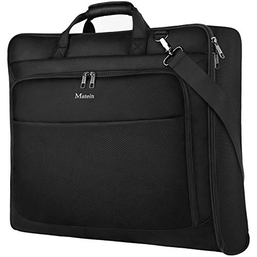 Garment Bag for Travel, Large Carry on Garment Bags with Strap for Business, Matein Waterproof Hanging Suit Luggage Bag for Men Women, Wrinkle Free Suitcase Cover for Shirts Dresses Coats, Black