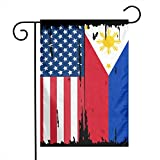American Philippines Flag Garden Flag Indoor Polyester For Celebration,Festival,Home,Outdoor,Garden Decorations 12 X 18 Inch