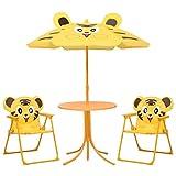 vidaXL Jeu de Bistro avec Parasol pour Enfants 3 pcs Salon de Jardin Mobilier de Patio Table et Chaises de Terrasse Meubles d'Extérieur Jaune