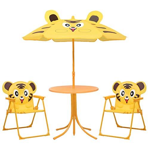 GOTOTOP Muebles de Jardín Infantil con Sombrilla para Niños, Diseño de patrón de Tigre, Mesa Diámetro 50cm, 2 Sillas Plegable 38 x 28 x 50 cm