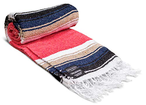 Mexican Blanket, Premium Yoga Blanket | Authentic Hand Woven Falsa Blanket | Thick & Soft Serape Blanket Made by Mexican Artisans | Perfect Beach Blanket, Camping Blanket, Picnic Blanket, Car Blanket