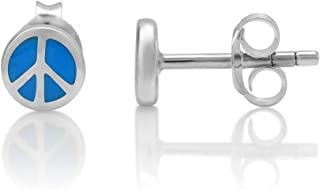925 Sterling Silver Tiny Blue Hippie Peace Sign Round 6 mm Post Stud Earrings