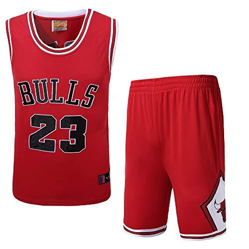 MULANKA NBA Trikot für Herren - Michael Jordan 23 Basketball Trikot, Chicago Bulls #23 Trikot, Atmungsaktive und Verschleißfeste Rundhals Stickerei Basketball Uniform(rot)