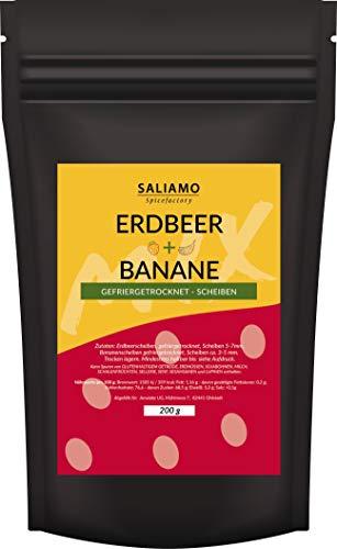 Saliamo | gefriergetrocknete Erdbeeren Bananen Mischung - für Müsli zum Backen und Kochen - gesunder Snack (100g)