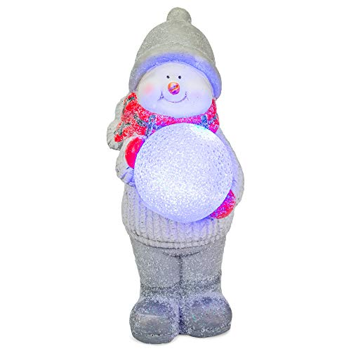 Snowman Holding LED Snowball Classic White 17 inch Resin Stone Holiday Door Greeter Figurine