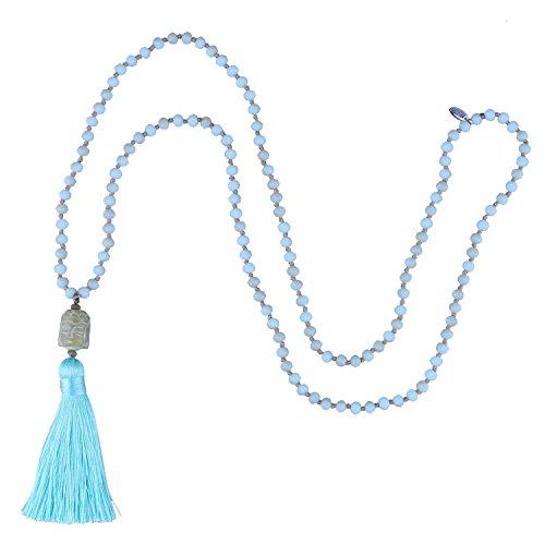 KELITCH Halsketten für Frauen Kristall Kette Damen Lang mit Anhänger Quaste Achat Buddha Charm Lange Ketten Schmuck Geschenk - Blaue Quaste