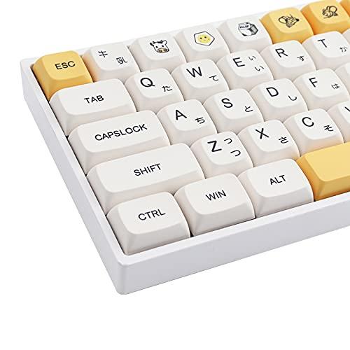 TsungUP Keycaps, 137 Keycaps PBT Keycaps Farbsublimation Japanische Tastenkappen XDA-Profil für mechanische Spiele Tastatur 61/64/68/74/84/87/96/980/104/108 (Honig & Milch)
