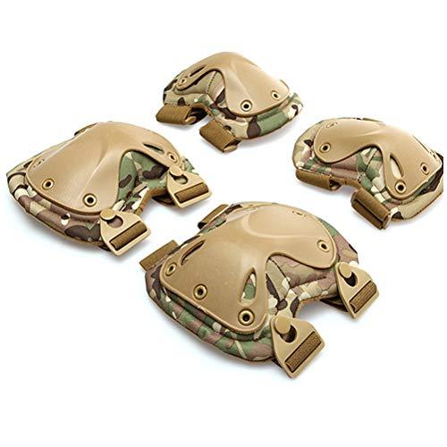 4ps Codo Militar Protector de Rodilla Codo y Rodilleras Juego de Almohadillas Protectoras tácticas para Adultos Equipo Deportivo Profesional