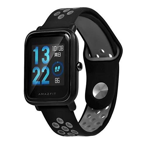 Saisiyiky Cinturino per amazfit BIP Youth–20mm Silicone Cinturino di Ricambio per Galaxy Watch, Gear S2Classic, Huawei Watch 2, Grigio