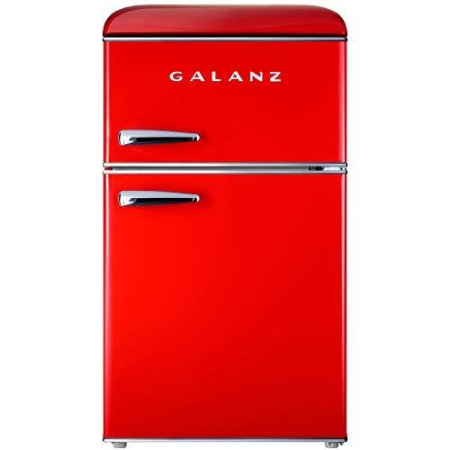 Galanz GLR31TRDER Retro Compact Refrigerator, Mini Fridge with Dual Doors, Adjustable Mechanical...