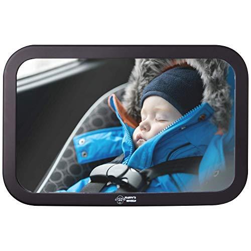 Fluffy\'s World Spiegel Auto Baby - Autospiegel Baby - Bruchsicherer Rückspiegel Baby - Babyspiegel Auto - Rücksitzspiegel baby XXL - groß