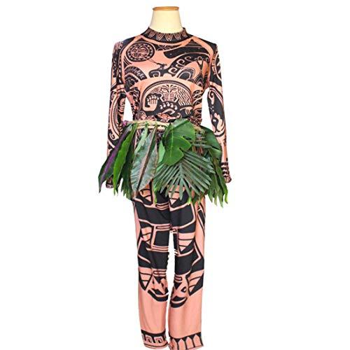 YKJ Película Moana Maui Cosplay Disfraz Juegos completos Fiesta de Halloween Hombres Fantasía Bodysuit Medias Sudadera y Pantalones Hojas,Full Set-M
