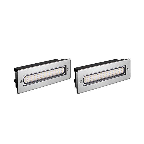 parlat LED Treppen-Licht Treppen-Leuchte, Outdoor eckig 20x7cm 230V warm-weiß, 2 Stk.